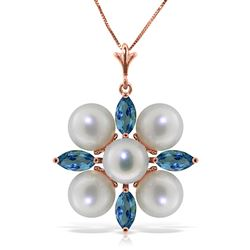 ALARRI 6.3 Carat 14K Solid Rose Gold Snowflake Pearl Blue Topaz Necklace