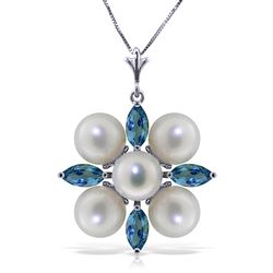ALARRI 6.3 Carat 14K Solid White Gold Peace Of Heaven Blue Topaz Pearl Necklace