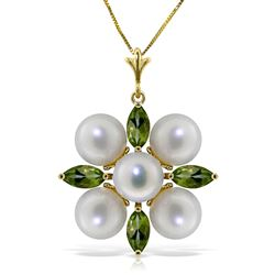ALARRI 6.3 Carat 14K Solid Gold Fear No More Peridot Pearl Necklace