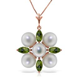 ALARRI 6.3 Carat 14K Solid Rose Gold Snowflake Pearl Peridot Necklace