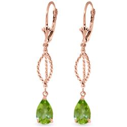 ALARRI 3 Carat 14K Solid Rose Gold Peridot Dangling Earrings