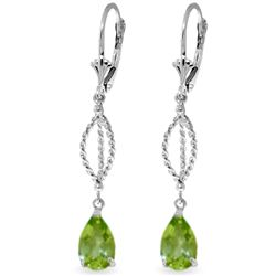 ALARRI 3 Carat 14K Solid White Gold Accolades Peridot Earrings