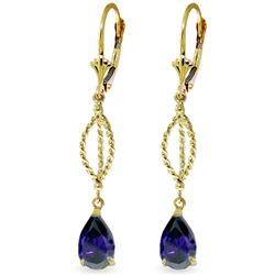 ALARRI 3 CTW 14K Solid Gold Dark Is The Night Sapphire Earrings