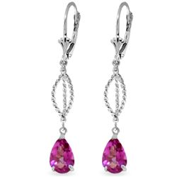 ALARRI 3 Carat 14K Solid White Gold Entreat Pink Topaz Earrings
