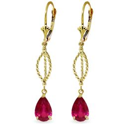 ALARRI 3.5 CTW 14K Solid Gold Happy Collusion Ruby Earrings