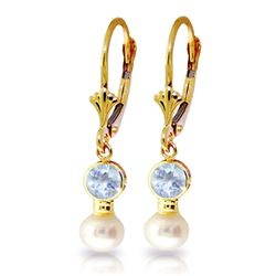 ALARRI 2.7 CTW 14K Solid Gold Leverback Earrings Pearl Aquamarine