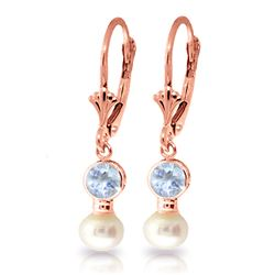 ALARRI 2.7 CTW 14K Solid Rose Gold Leverback Earrings Pearl Aquamarine