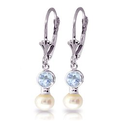 ALARRI 2.7 CTW 14K Solid White Gold Leverback Earrings Pearl Aquamarine