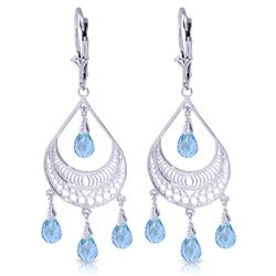 ALARRI 6.75 Carat 14K Solid White Gold Summer Rain Blue Topaz Earrings