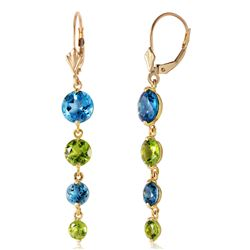 ALARRI 7.8 CTW 14K Solid Gold Drizzle Blue Topaz Peridot Earrings
