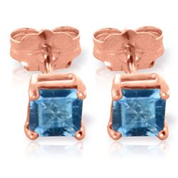 ALARRI 0.95 Carat 14K Solid Rose Gold Caress Blue Topaz Stud Earrings