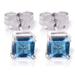 ALARRI 0.95 CTW 14K Solid White Gold Carlotta Blue Topaz Earrings