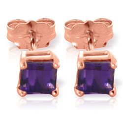 ALARRI 0.65 Carat 14K Solid Rose Gold Caress Amethyst Stud Earrings