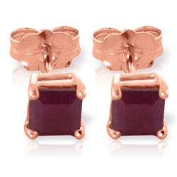 ALARRI 0.8 CTW 14K Solid Rose Gold Caress Ruby Stud Earrings