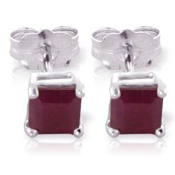 ALARRI 0.8 Carat 14K Solid White Gold Join Forces Ruby Earrings