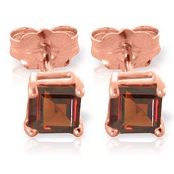 ALARRI 1 CTW 14K Solid Rose Gold Caress Garnet Stud Earrings