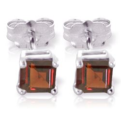 ALARRI 1 Carat 14K Solid White Gold We Came Far Garnet Earrings