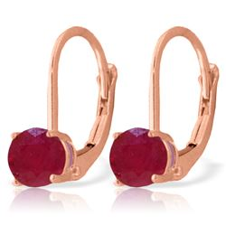 ALARRI 1.2 Carat 14K Solid Rose Gold Solitaire Ruby Earrings