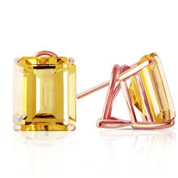 ALARRI 13 CTW 14K Solid Rose Gold Octagon Citrine Earrings
