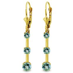 ALARRI 2.5 Carat 14K Solid Gold Generoity Blue Topaz Earrings