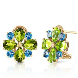 ALARRI 4.85 Carat 14K Solid Gold French Clips Earrings Peridot Blue Topaz