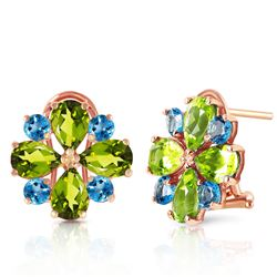 ALARRI 4.85 Carat 14K Solid Rose Gold French Clips Earrings Peridot Blue Topaz