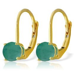 ALARRI 1.2 Carat 14K Solid Gold Leverback Earrings Emerald
