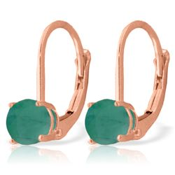 ALARRI 1.2 Carat 14K Solid Rose Gold Leverback Earrings Emerald