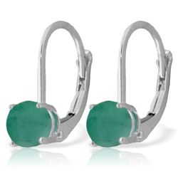 ALARRI 1.2 Carat 14K Solid White Gold Leverback Earrings Emerald