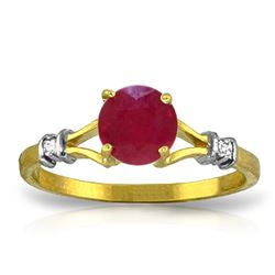 ALARRI 1.02 CTW 14K Solid Gold Ruby Perspiration Ruby Diamond Ring