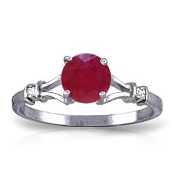 ALARRI 1.02 Carat 14K Solid White Gold Capacity To Care Ruby Diamond Ring