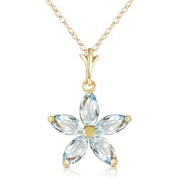 ALARRI 1.4 CTW 14K Solid Gold Insatiable Aquamarine Necklace