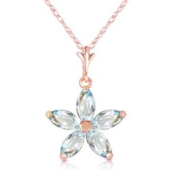 ALARRI 14K Solid Rose Gold Necklace w/ Natural Aquamarines