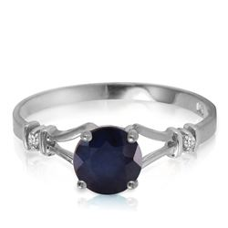 ALARRI 1.02 Carat 14K Solid White Gold Laughter To Express Sapphire Diamond Ring