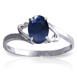 ALARRI 1 CTW 14K Solid White Gold Rings Natural Sapphire