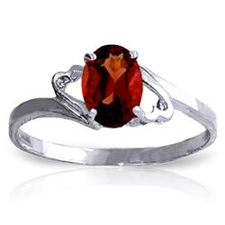 ALARRI 0.9 Carat 14K Solid White Gold Irresistable Touch Garnet Ring