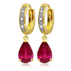 ALARRI 3.53 Carat 14K Solid Gold Hoop Earrings Diamond Ruby