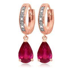 ALARRI 3.53 CTW 14K Solid Rose Gold Hoop Earrings Diamond Ruby