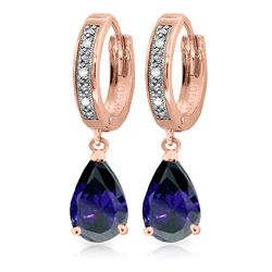 ALARRI 3.53 Carat 14K Solid Rose Gold Hoop Earrings Diamond Sapphire