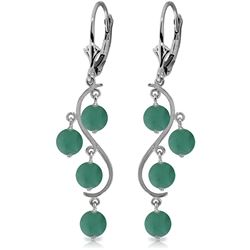 ALARRI 4 Carat 14K Solid White Gold Chandelier Earrings Natural Emerald