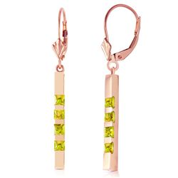 ALARRI 14K Solid Rose Gold Leverback Earrings Bar w/ Natural Peridots