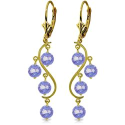 ALARRI 4 Carat 14K Solid Gold Chandelier Earrings Natural Tanzanite
