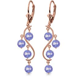 ALARRI 4 CTW 14K Solid Rose Gold Chandelier Earrings Natural Tanzanite