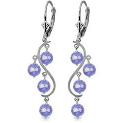 ALARRI 4 Carat 14K Solid White Gold Chandelier Earrings Natural Tanzanite