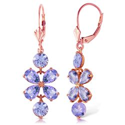 ALARRI 5.32 CTW 14K Solid Rose Gold Tanzanite Flower Earrings