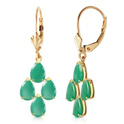 ALARRI 4.5 Carat 14K Solid Gold Evergreen Emerald Earrings