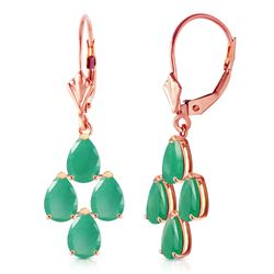 ALARRI 4.5 Carat 14K Solid Rose Gold Emerald Spring Earrings
