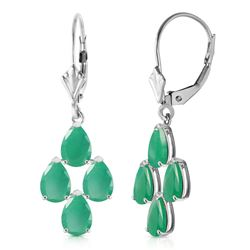ALARRI 4.5 Carat 14K Solid White Gold Gazelle Emerald Earrings