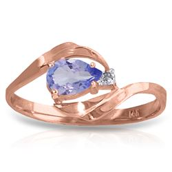 ALARRI 0.51 Carat 14K Solid Rose Gold Waves Tanzanite Diamond Ring