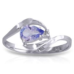 ALARRI 0.51 CTW 14K Solid White Gold Pregnant Cloud Tanzanite Diamond Ring